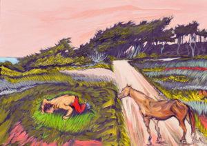 Comiendo hierba. | Óleo sobre lienzo, 45 x 61 cm